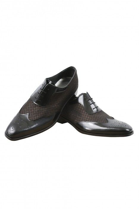 Black/bronze groom VALDEMAR shoes in leather and fabric
