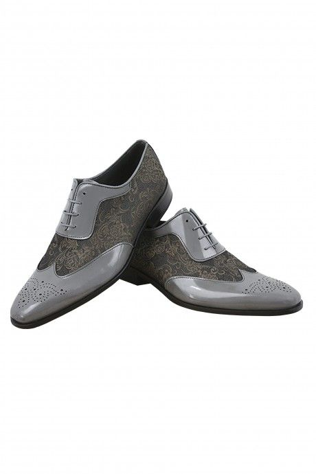 Grey/bronze Roberto Vicentti shoes in leather and fabric