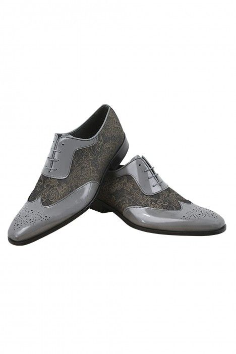 Grey/bronze groom VALDEMAR shoes in leather and fabric