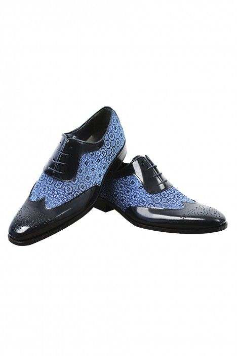 Roberto Vicentti shoes in blue leather and fabric