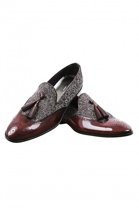 Burgundy groom VERO shoes in leather and fabric