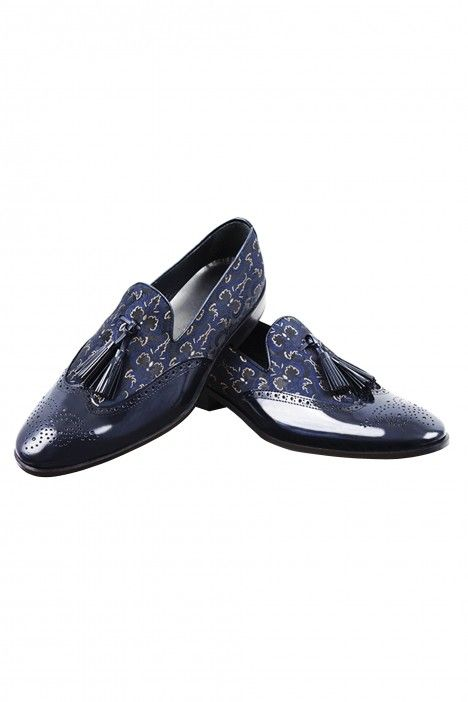 Blue Roberto Vicentti Shoes in leather and patterned fabric