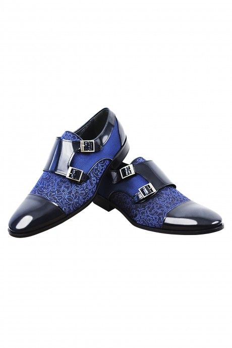 Blue groom VICKI shoes in leather and fabric