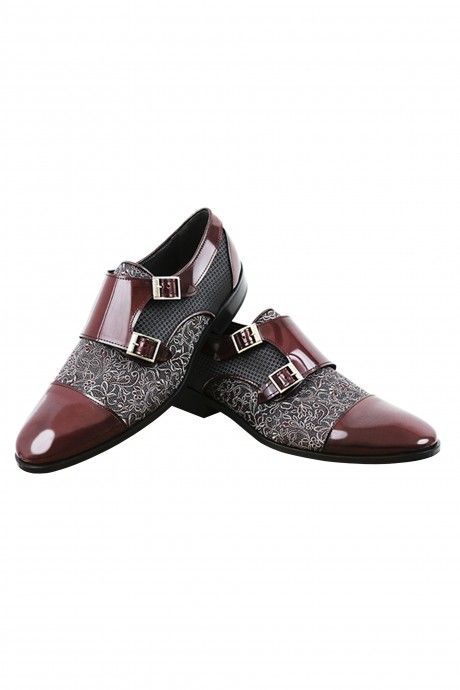 Burgundy groom VICKI shoes in leather and fabric