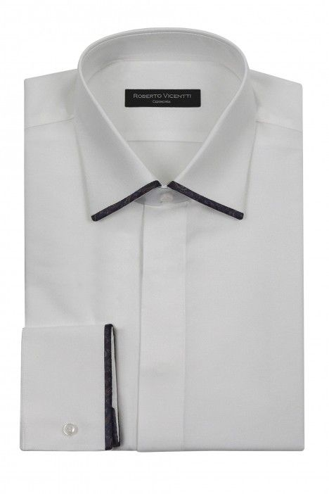 White groom shirt with piping in blue fabric