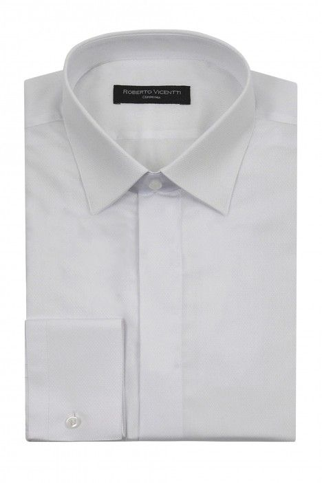 White Roberto Vicentti cotton polyester slim fit Shirt