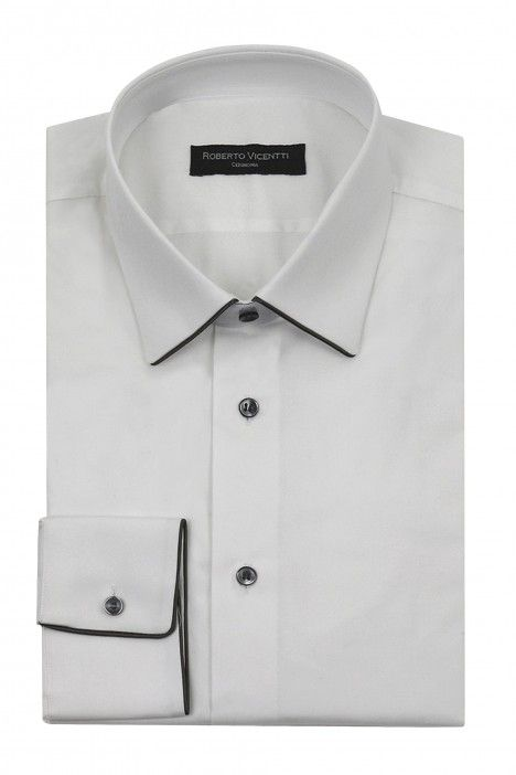 White groom shirt with grey piping