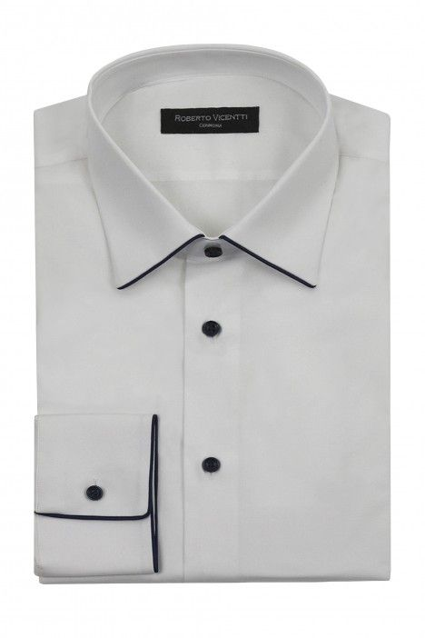 White groom Shirt with blue piping