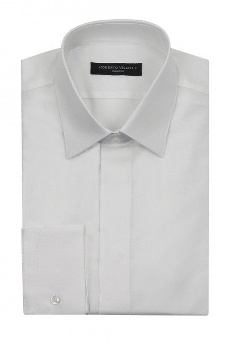 White Roberto Vicentti cotton viscose slim fit shirt