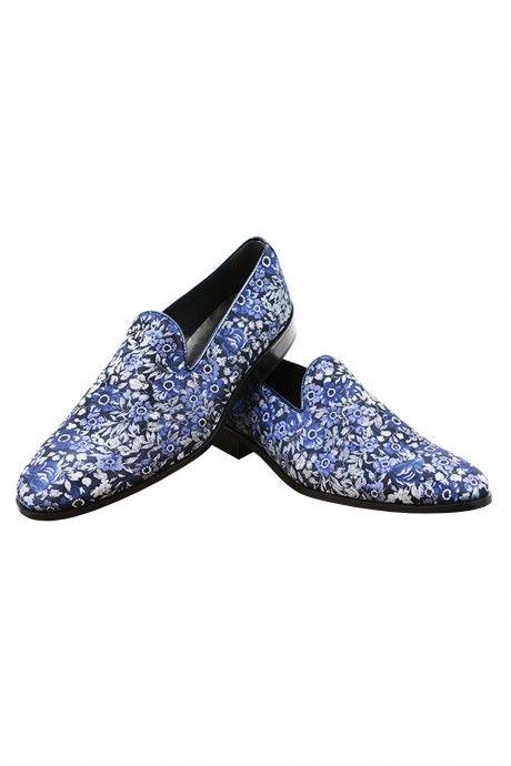 Chaussure marié VLADISLAV bleue en tissu