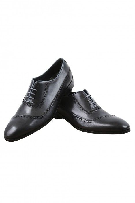 Grey leather groom shoe  VEGA