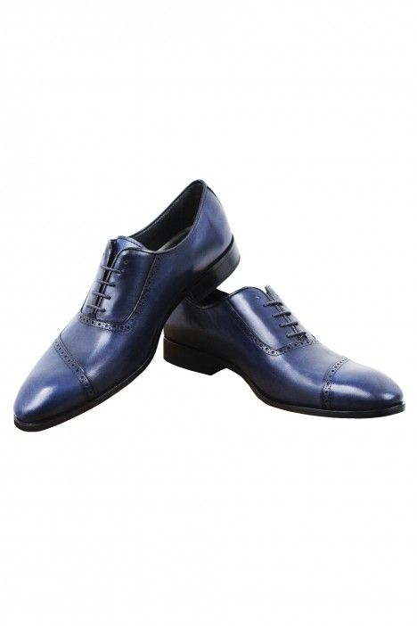 Blue leather groom shoe  VEGA