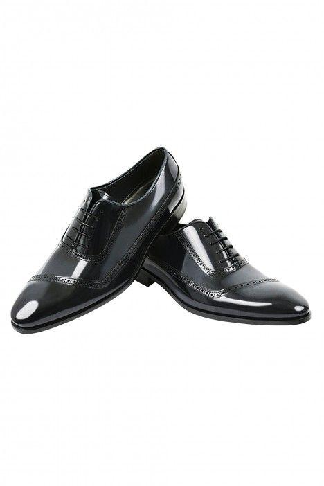 Zapato novio VEGA negro brillante en piel