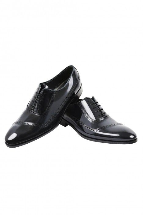 Shiny blue leather groom shoe  VEGA
