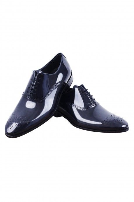 Blue leather groom shoe VENETO