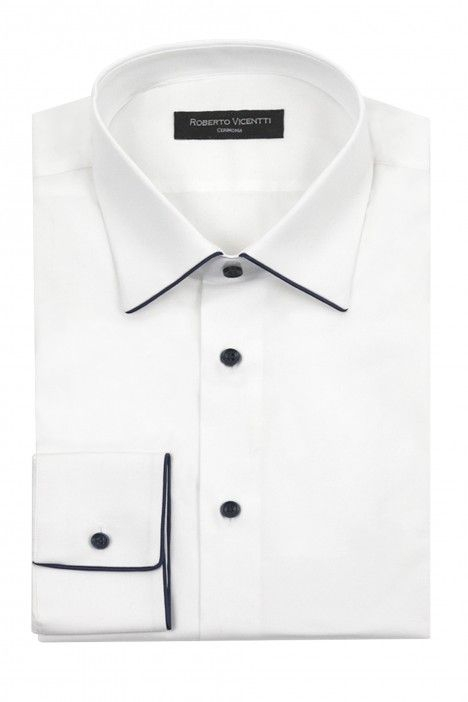 Camicia sposo bianco contrasto blu