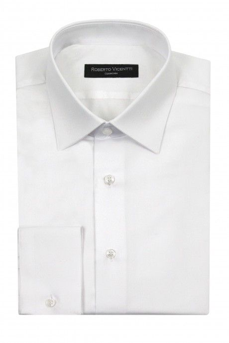 White groom shirt in cotton lycra Slim fit