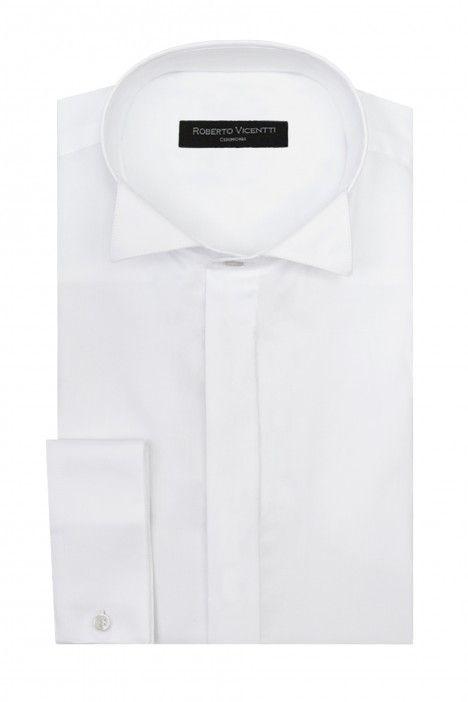 Chemise marié blanche en coton lycra avec col oiseau