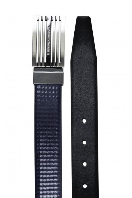 Cinturón de novio reversible azul/negro